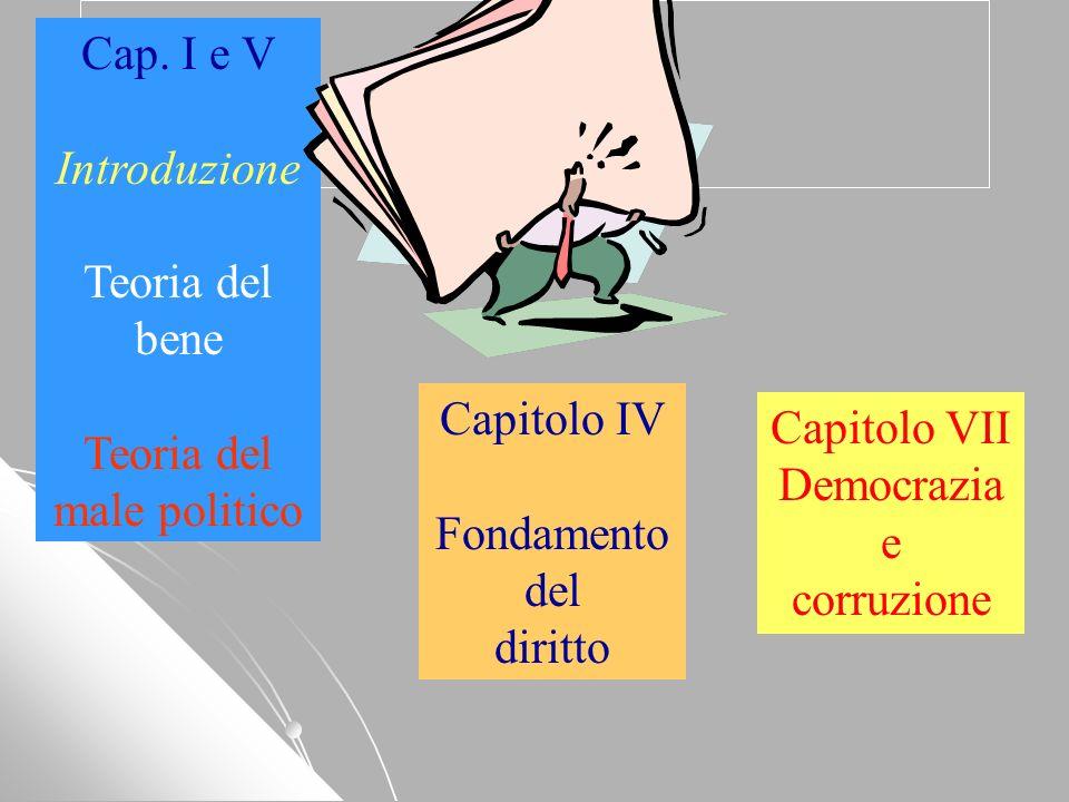 Libro ??? Capitolo IV Fondamento del diritto Cap. I e V Introduzione Teoria del bene Teoria del male politico Capitolo VII Democrazia e corruzione