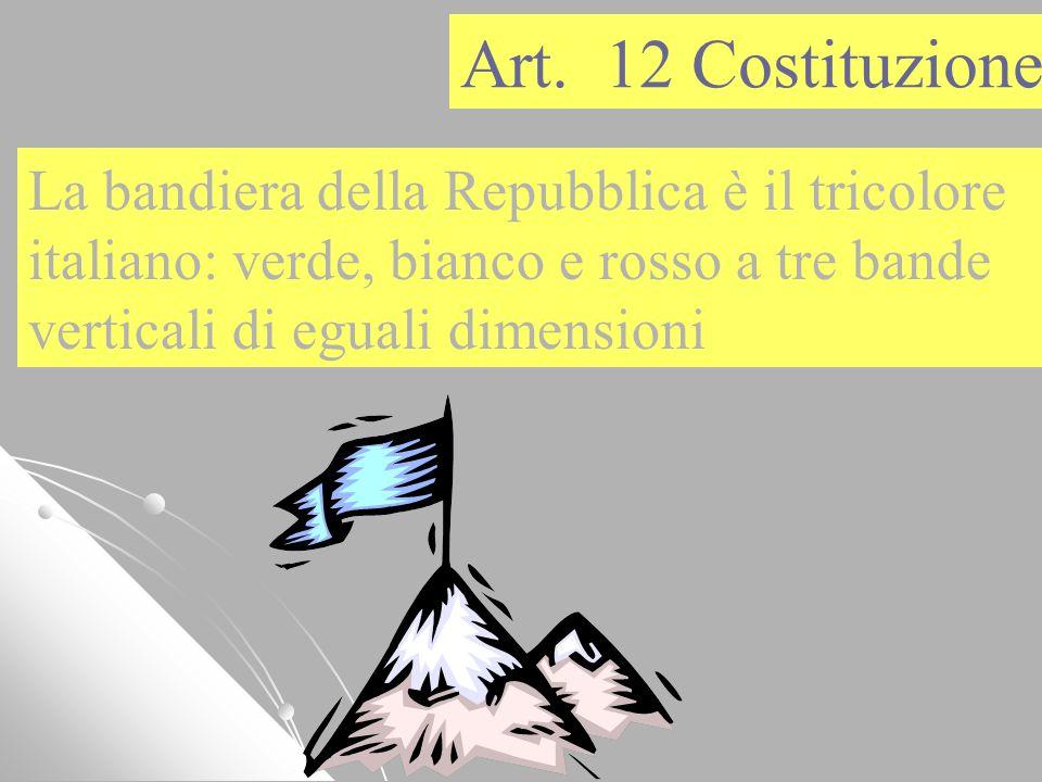 La bandiera della Repubblica è il tricolore italiano: verde, bianco e rosso a tre bande verticali di eguali dimensioni Art. 12 Costituzione