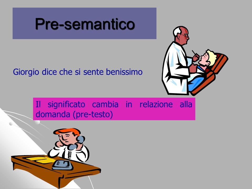 Pre-semantico Giorgio dice che si sente benissimo Il significato cambia in relazione alla domanda (pre-testo)