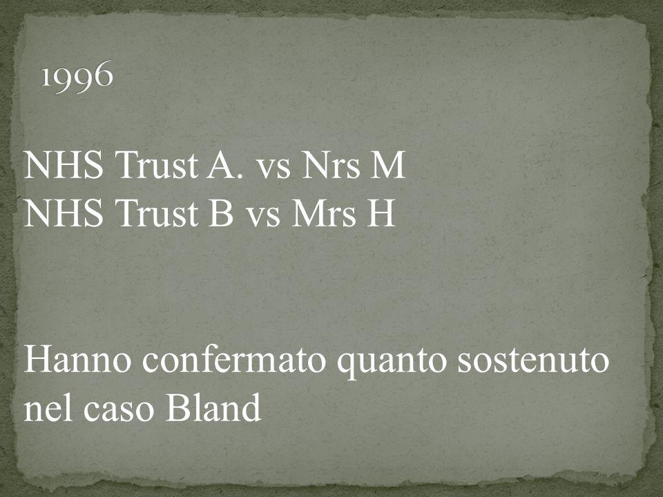 NHS Trust A. vs Nrs M NHS Trust B vs Mrs H Hanno confermato quanto sostenuto nel caso Bland