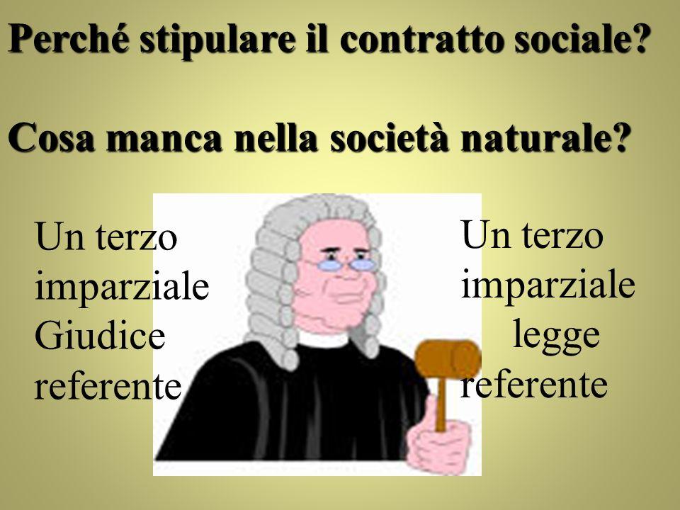 Perché stipulare il contratto sociale? Cosa manca nella società naturale? Un terzo imparziale Giudice referente Un terzo imparziale legge referente