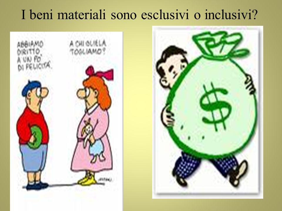 I beni materiali sono esclusivi o inclusivi?