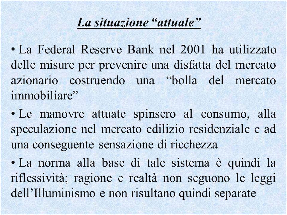 La situazione attuale La Federal Reserve Bank nel 2001 ha utilizzato delle misure per prevenire una disfatta del mercato azionario costruendo una boll