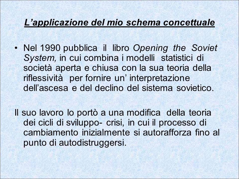 Lapplicazione del mio schema concettuale Nel 1990 pubblica il libro Opening the Soviet System, in cui combina i modelli statistici di società aperta e