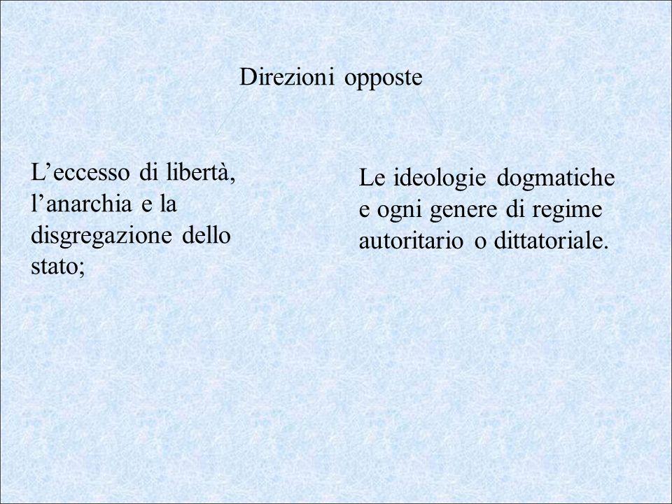 Direzioni opposte Leccesso di libertà, lanarchia e la disgregazione dello stato; Le ideologie dogmatiche e ogni genere di regime autoritario o dittato