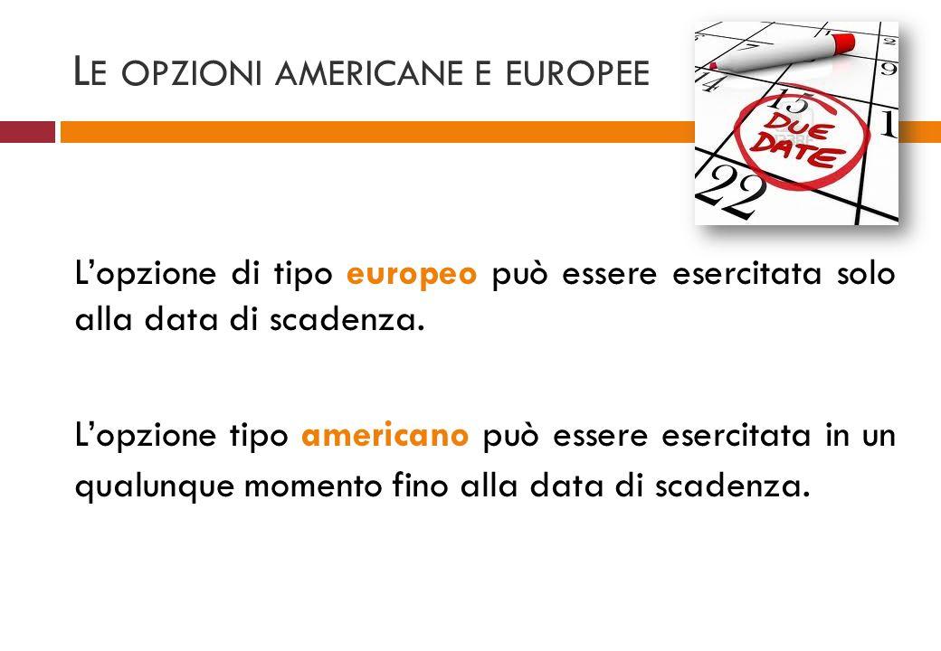L E OPZIONI AMERICANE E EUROPEE Lopzione di tipo europeo può essere esercitata solo alla data di scadenza. Lopzione tipo americano può essere esercita