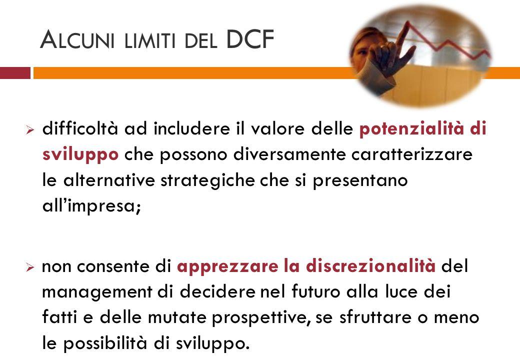 A LCUNI LIMITI DEL DCF difficoltà ad includere il valore delle potenzialità di sviluppo che possono diversamente caratterizzare le alternative strateg