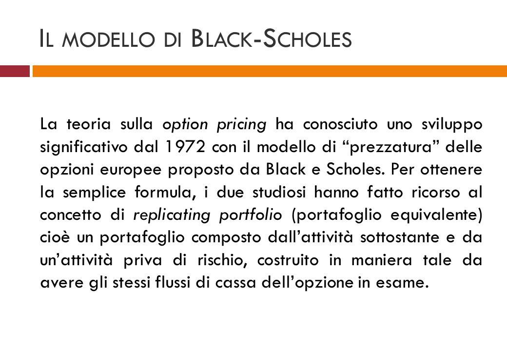 I L MODELLO DI B LACK -S CHOLES La teoria sulla option pricing ha conosciuto uno sviluppo significativo dal 1972 con il modello di prezzatura delle op