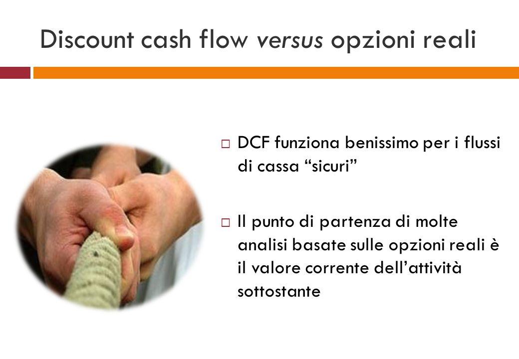 Discount cash flow versus opzioni reali DCF funziona benissimo per i flussi di cassa sicuri Il punto di partenza di molte analisi basate sulle opzioni