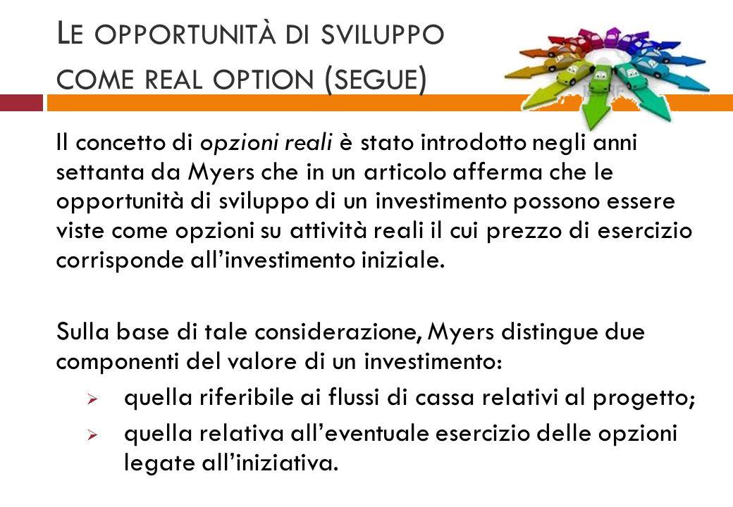 L E OPPORTUNITÀ DI SVILUPPO COME REAL OPTION ( SEGUE ) Il concetto di opzioni reali è stato introdotto negli anni settanta da Myers che in un articolo