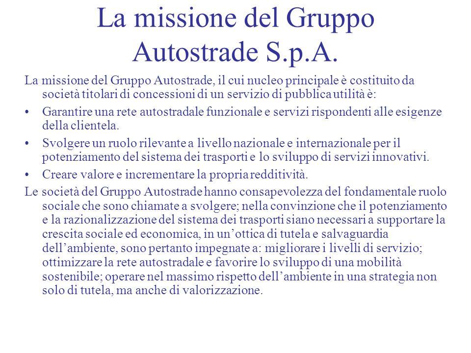 La missione del Gruppo Autostrade S.p.A. La missione del Gruppo Autostrade, il cui nucleo principale è costituito da società titolari di concessioni d