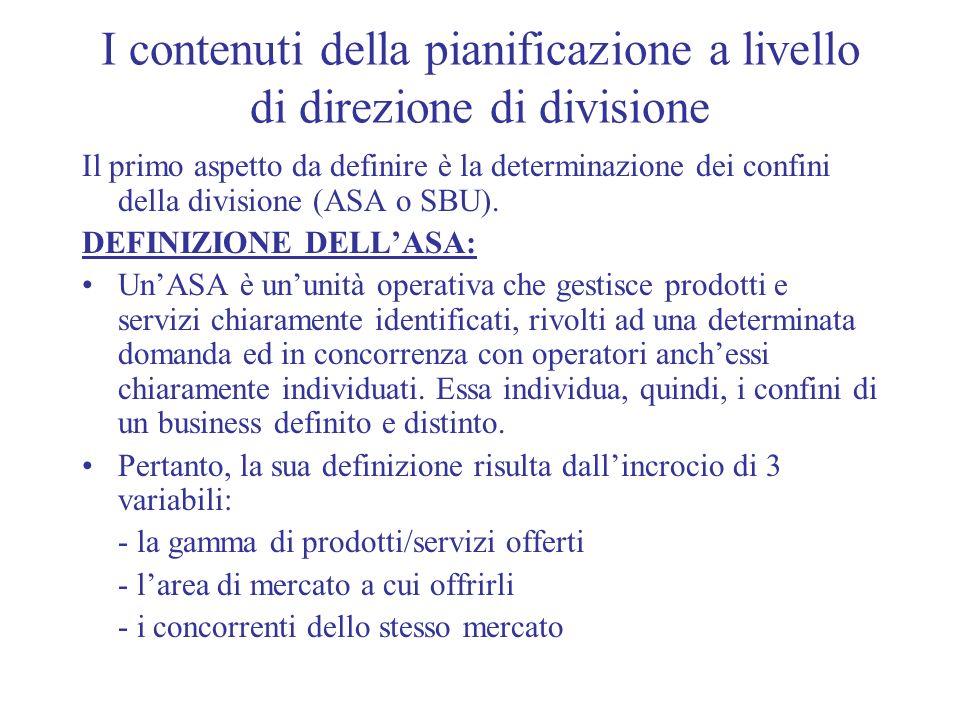 I contenuti della pianificazione a livello di direzione di divisione Il primo aspetto da definire è la determinazione dei confini della divisione (ASA
