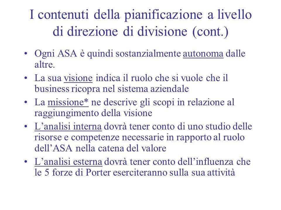 I contenuti della pianificazione a livello di direzione di divisione (cont.) Ogni ASA è quindi sostanzialmente autonoma dalle altre. La sua visione in