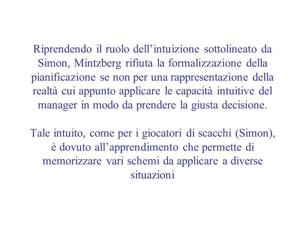 Riprendendo il ruolo dellintuizione sottolineato da Simon, Mintzberg rifiuta la formalizzazione della pianificazione se non per una rappresentazione d