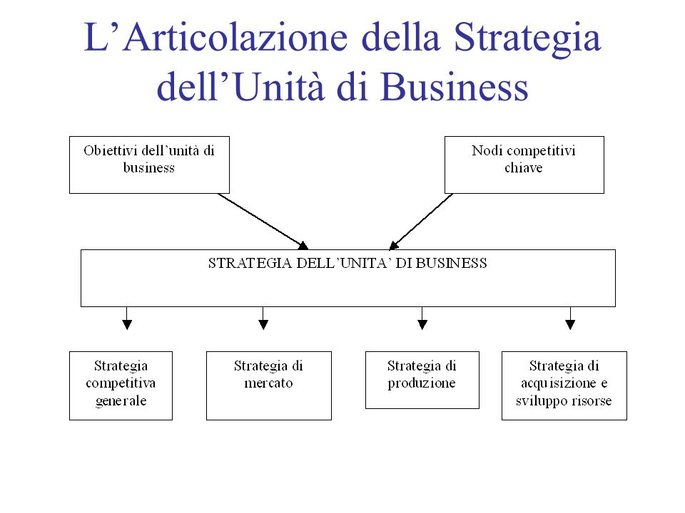 LArticolazione della Strategia dellUnità di Business