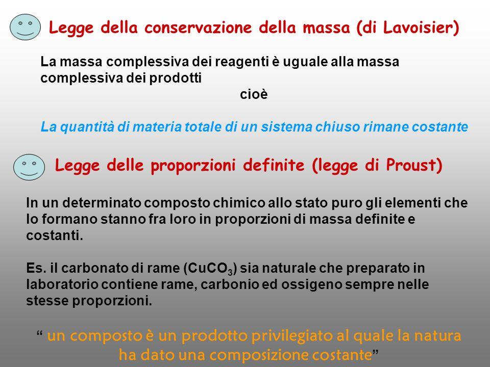 Legge della conservazione della massa (di Lavoisier) La massa complessiva dei reagenti è uguale alla massa complessiva dei prodotti cioè La quantità d