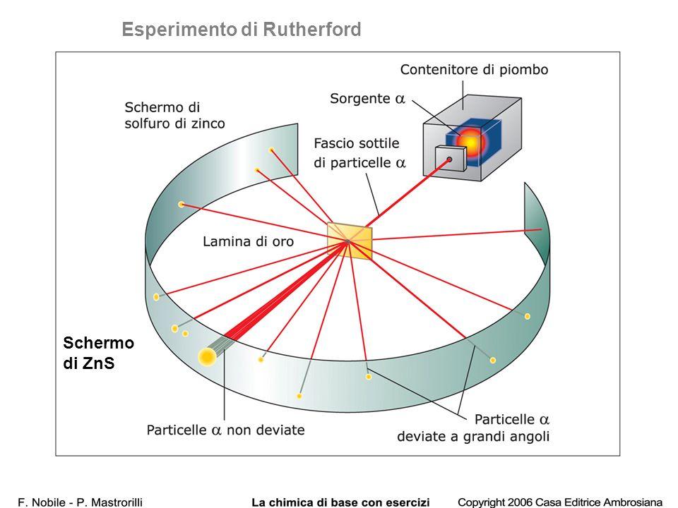 Esperimento di Rutherford Schermo di ZnS