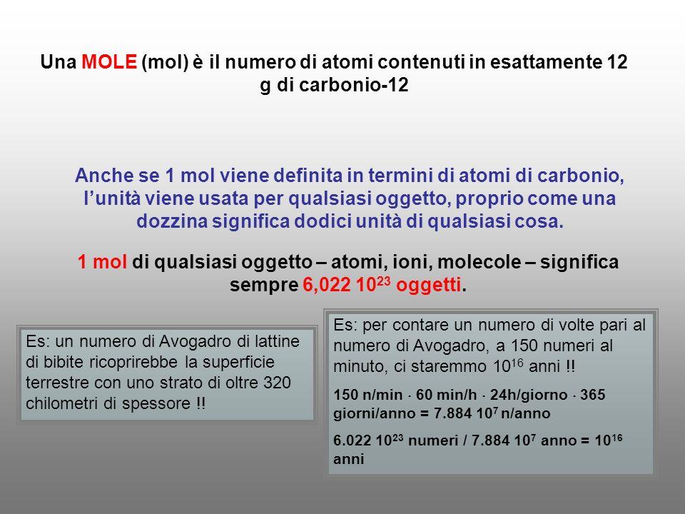 Una MOLE (mol) è il numero di atomi contenuti in esattamente 12 g di carbonio-12 Anche se 1 mol viene definita in termini di atomi di carbonio, lunità