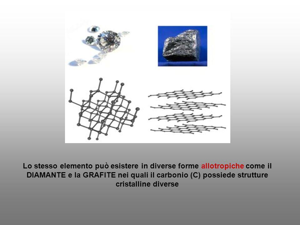 Lo stesso elemento può esistere in diverse forme allotropiche come il DIAMANTE e la GRAFITE nei quali il carbonio (C) possiede strutture cristalline d