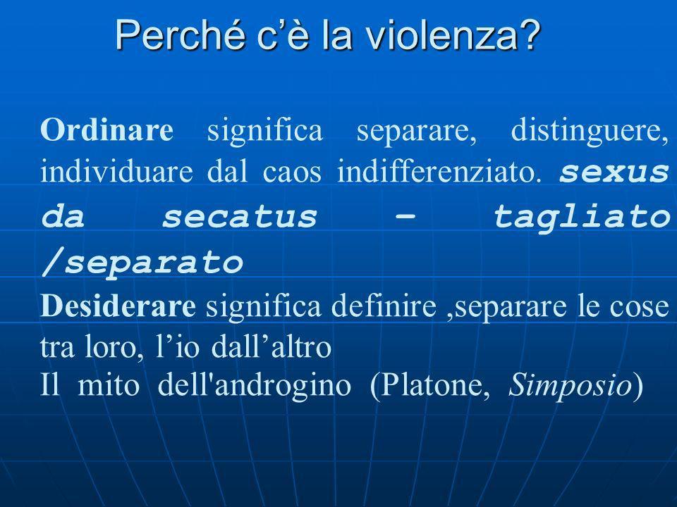 Perché cè la violenza? Ordinare significa separare, distinguere, individuare dal caos indifferenziato. Ma questo è un atto violento-doloroso: la fanta