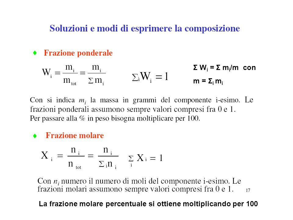 Σ W i = Σ m i /m con m = Σ i m i La frazione molare percentuale si ottiene moltiplicando per 100
