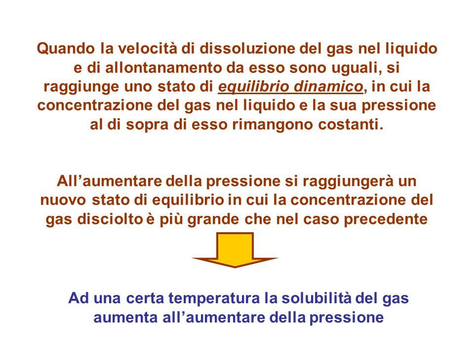 Quando la velocità di dissoluzione del gas nel liquido e di allontanamento da esso sono uguali, si raggiunge uno stato di equilibrio dinamico, in cui
