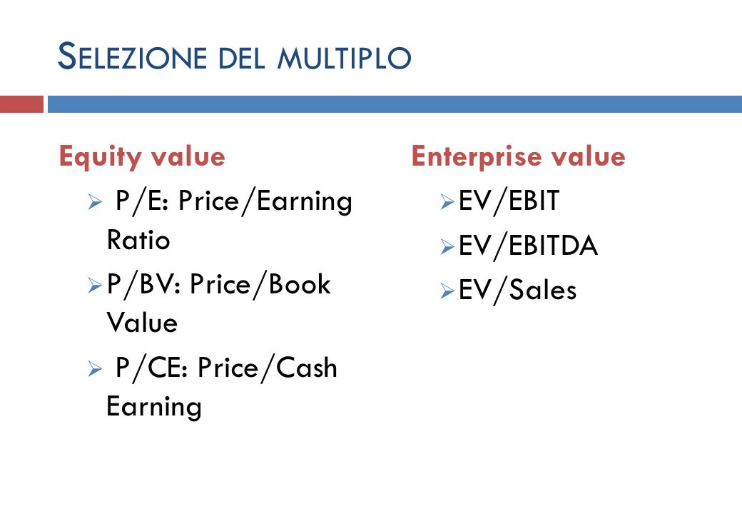 S ELEZIONE DEL MULTIPLO Equity value P/E: Price/Earning Ratio P/BV: Price/Book Value P/CE: Price/Cash Earning Enterprise value EV/EBIT EV/EBITDA EV/Sales
