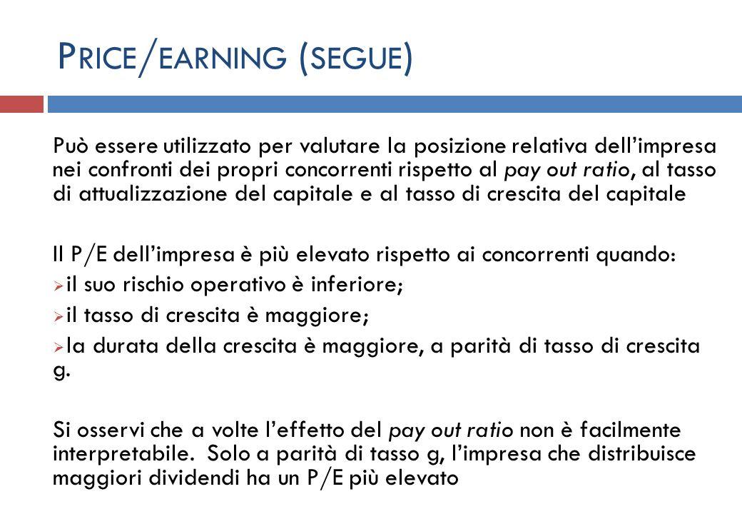P RICE / EARNING ( SEGUE ) Può essere utilizzato per valutare la posizione relativa dellimpresa nei confronti dei propri concorrenti rispetto al pay o
