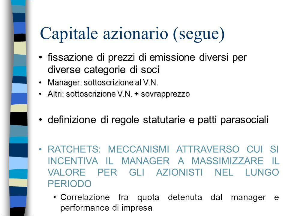 Capitale azionario (segue) fissazione di prezzi di emissione diversi per diverse categorie di soci Manager: sottoscrizione al V.N.Manager: sottoscrizi