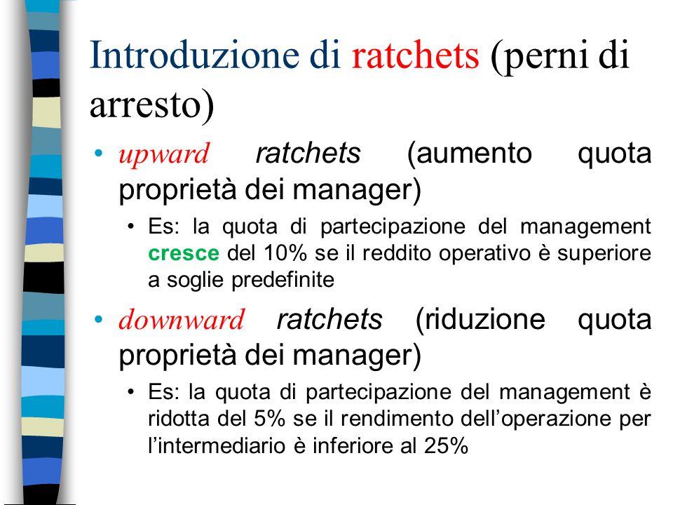 Introduzione di ratchets (perni di arresto) upward ratchets (aumento quota proprietà dei manager) Es: la quota di partecipazione del management cresce
