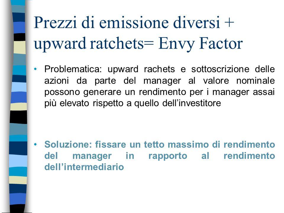 Prezzi di emissione diversi + upward ratchets= Envy Factor Problematica: upward rachets e sottoscrizione delle azioni da parte del manager al valore n