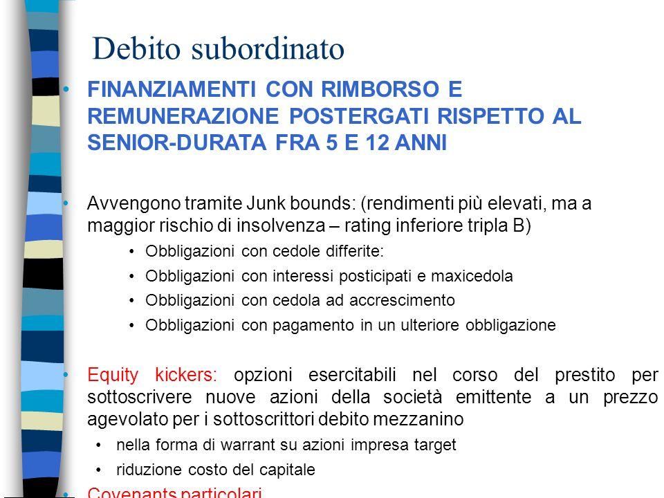 Debito subordinato FINANZIAMENTI CON RIMBORSO E REMUNERAZIONE POSTERGATI RISPETTO AL SENIOR-DURATA FRA 5 E 12 ANNI Avvengono tramite Junk bounds: (ren