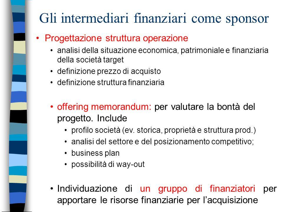 Gli intermediari finanziari come sponsor Progettazione struttura operazione analisi della situazione economica, patrimoniale e finanziaria della socie