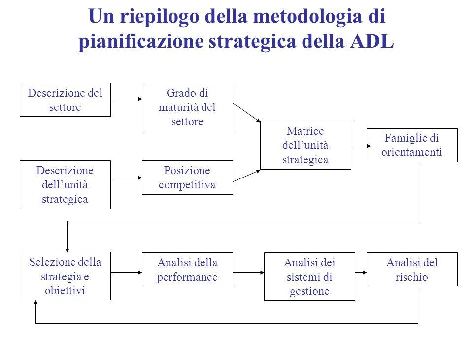 Un riepilogo della metodologia di pianificazione strategica della ADL Descrizione del settore Grado di maturità del settore Descrizione dellunità stra