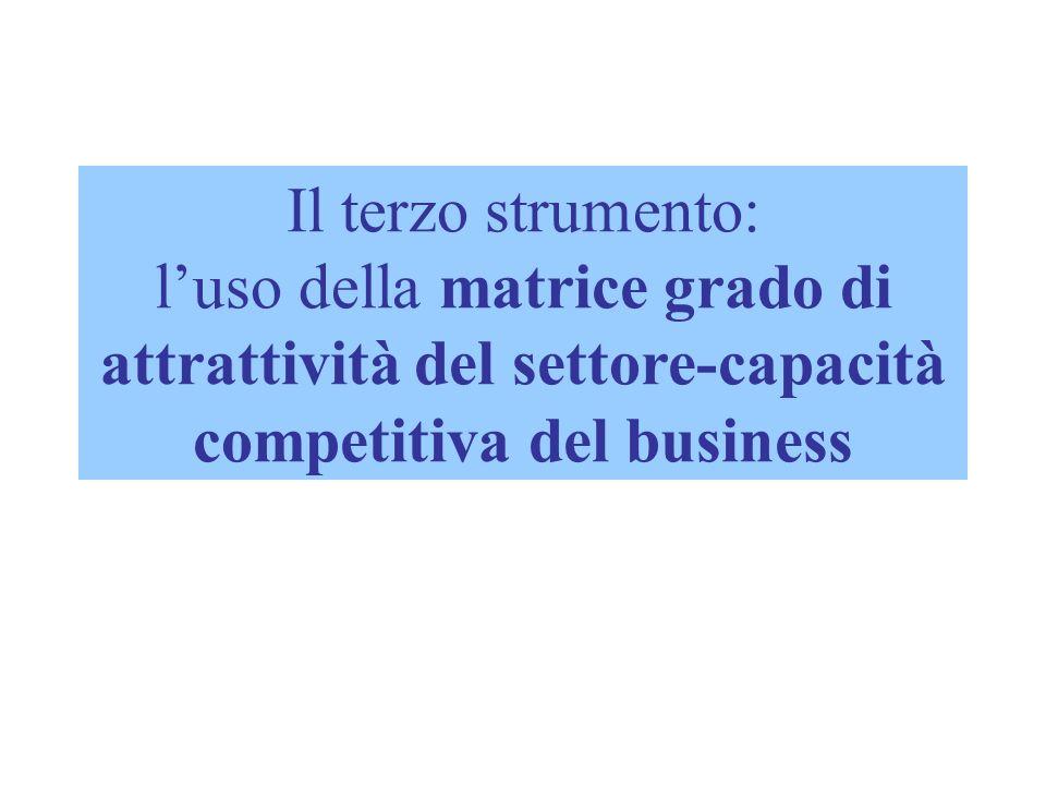 Il terzo strumento: luso della matrice grado di attrattività del settore-capacità competitiva del business