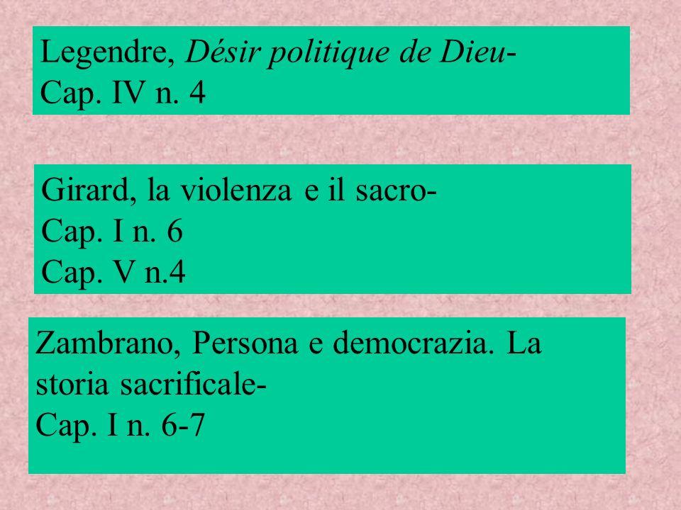 Legendre, Désir politique de Dieu- Cap. IV n. 4 Girard, la violenza e il sacro- Cap. I n. 6 Cap. V n.4 Zambrano, Persona e democrazia. La storia sacri