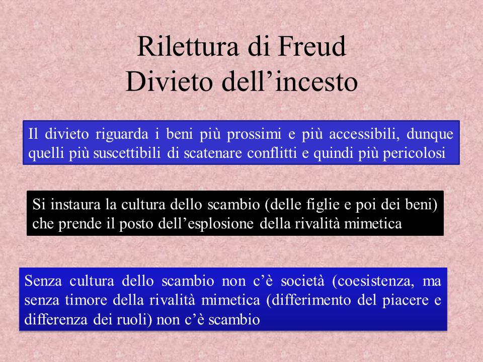 Rilettura di Freud Divieto dellincesto Il divieto riguarda i beni più prossimi e più accessibili, dunque quelli più suscettibili di scatenare conflitt