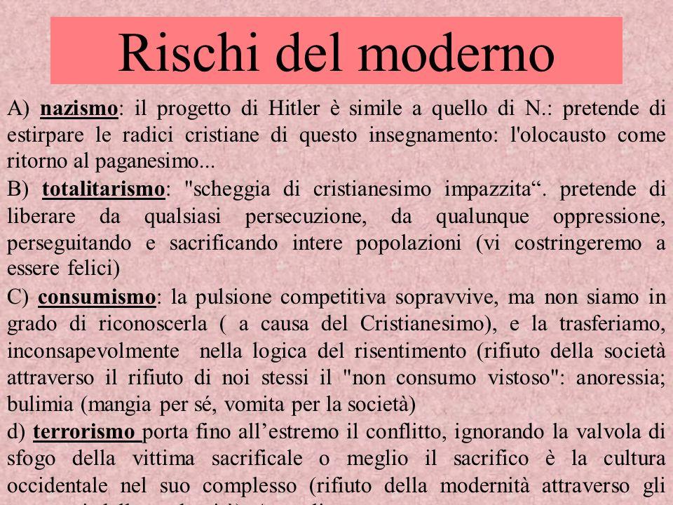 Rischi del moderno A) nazismo: il progetto di Hitler è simile a quello di N.: pretende di estirpare le radici cristiane di questo insegnamento: l'oloc