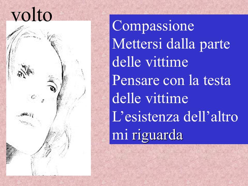Compassione Mettersi dalla parte delle vittime Pensare con la testa delle vittime riguarda Lesistenza dellaltro mi riguarda volto