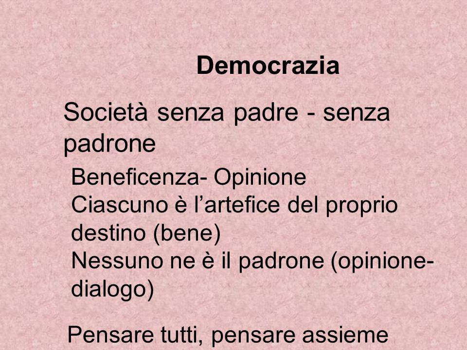 Democrazia Società senza padre - senza padrone Beneficenza- Opinione Ciascuno è lartefice del proprio destino (bene) Nessuno ne è il padrone (opinione