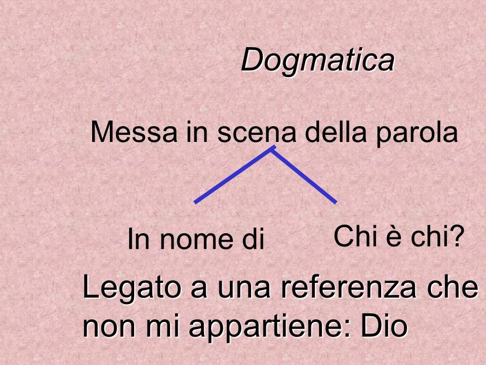 Dogmatica Legato a una referenza che non mi appartiene: Dio Messa in scena della parola In nome di Chi è chi?