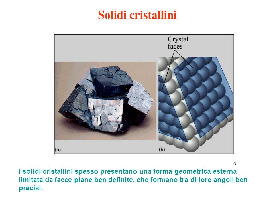 I solidi cristallini spesso presentano una forma geometrica esterna limitata da facce piane ben definite, che formano tra di loro angoli ben precisi.