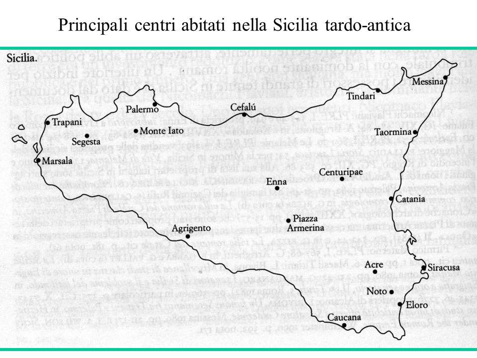 Principali centri abitati nella Sicilia tardo-antica