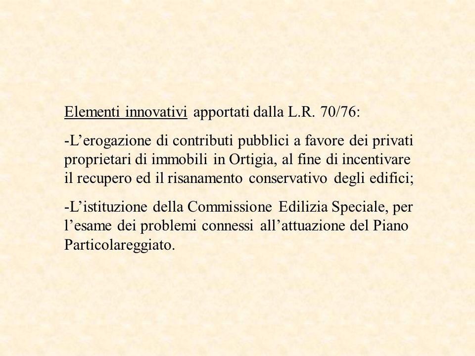 Elementi innovativi apportati dalla L.R. 70/76: -Lerogazione di contributi pubblici a favore dei privati proprietari di immobili in Ortigia, al fine d