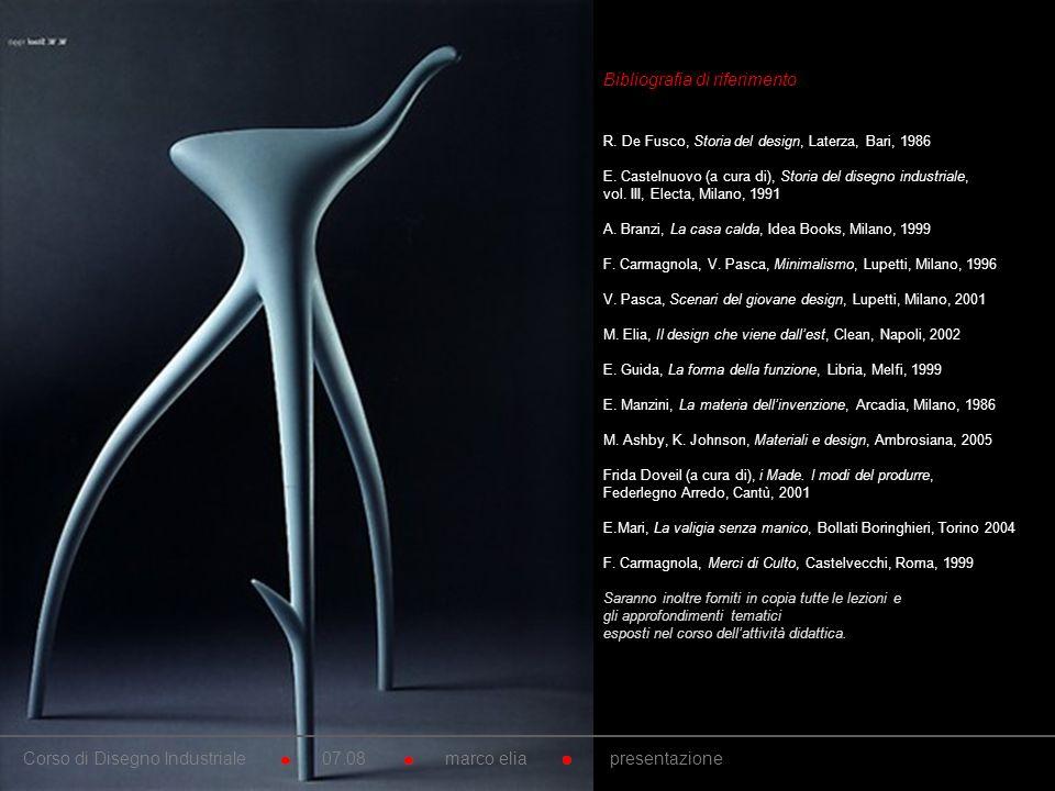 10. Bibliografia di riferimento R. De Fusco, Storia del design, Laterza, Bari, 1986 E. Castelnuovo (a cura di), Storia del disegno industriale, vol. I