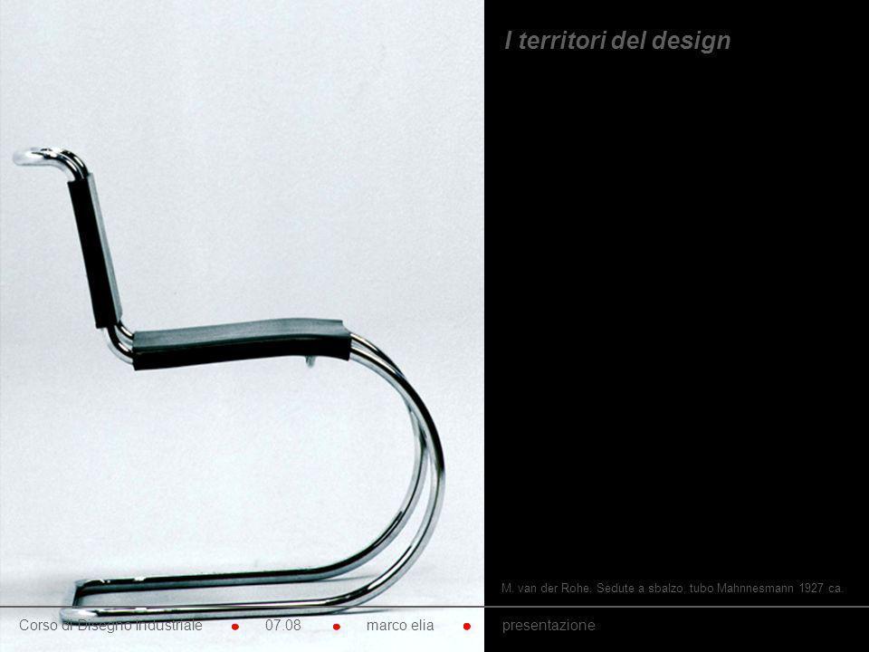 M. van der Rohe. Sedute a sbalzo, tubo Mahnnesmann 1927 ca. Corso di Disegno Industriale 07.08 marco elia presentazione I territori del design