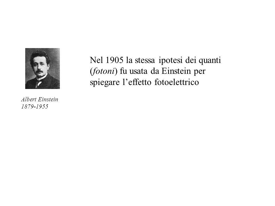 Nel 1905 la stessa ipotesi dei quanti (fotoni) fu usata da Einstein per spiegare leffetto fotoelettrico Albert Einstein 1879-1955