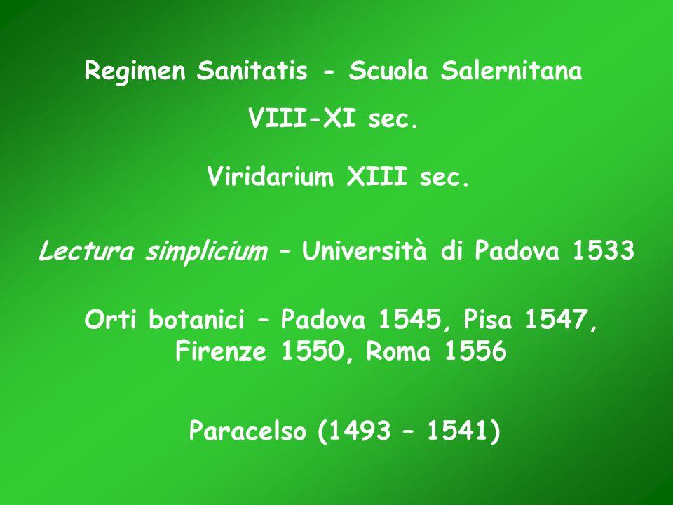 Regimen Sanitatis - Scuola Salernitana VIII-XI sec. Viridarium XIII sec. Lectura simplicium – Università di Padova 1533 Orti botanici – Padova 1545, P