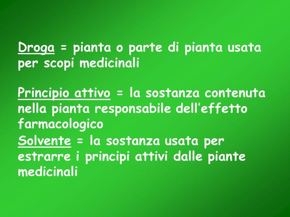 Droga = pianta o parte di pianta usata per scopi medicinali Principio attivo = la sostanza contenuta nella pianta responsabile delleffetto farmacologi