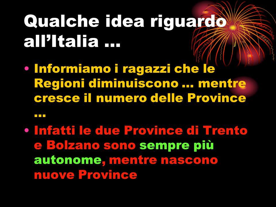 Qualche idea riguardo allItalia … Informiamo i ragazzi che le Regioni diminuiscono … mentre cresce il numero delle Province … Infatti le due Province